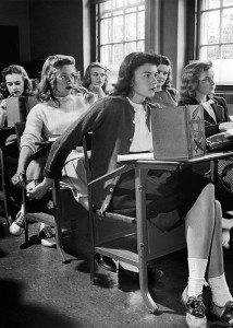 Passing notes in class, 1944