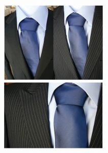 Great Image of a Blue Tie on a Dark Suit from The Moi Shop