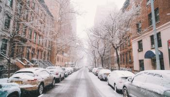 A street in New York covered in snow during the winter