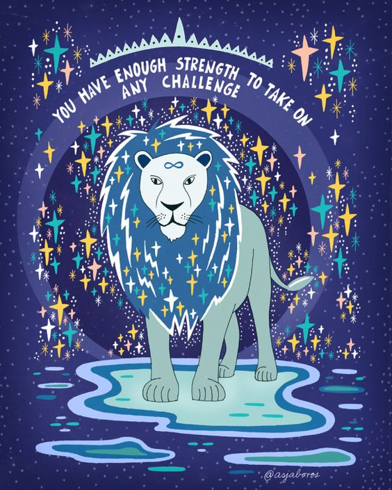 "a purple creative imagine with a lion in the center and stars around him. the image says, ""you have enough strength to take on any challenge""."