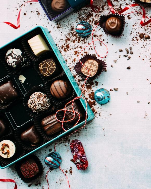 A box of Christmas chocolates