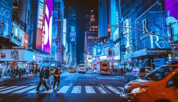 A picture of Times Square in New York City at night