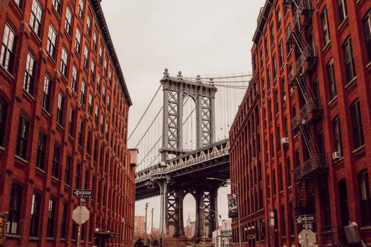 The Brooklyn bridge and apartments in NYC
