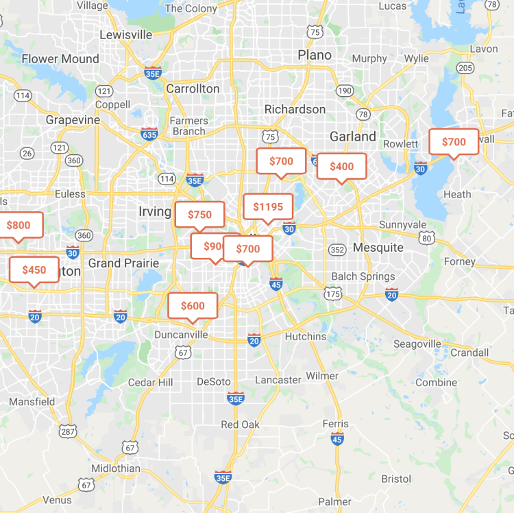 roomi's listing map for rooms for rent in dallas