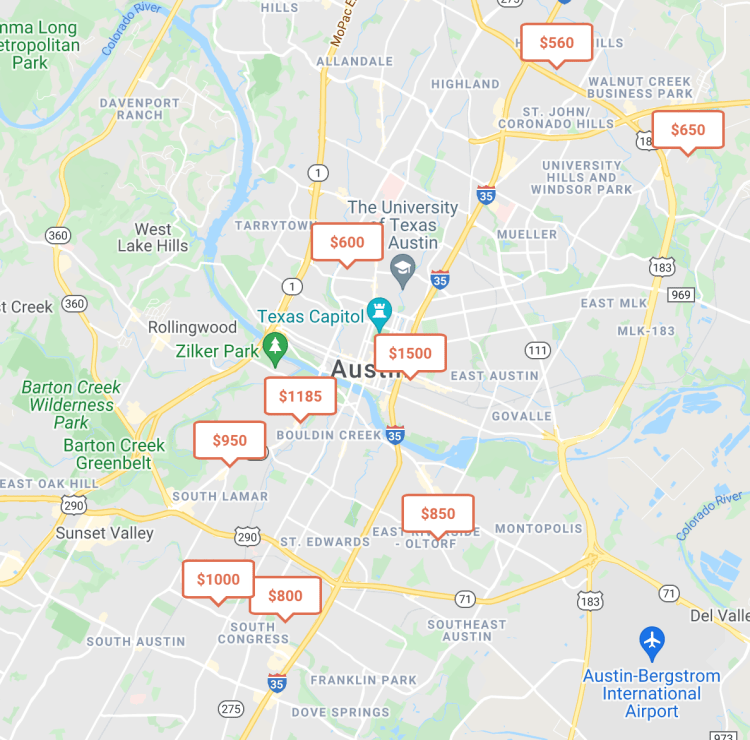 Roomi's listing map for rooms for rent in austin