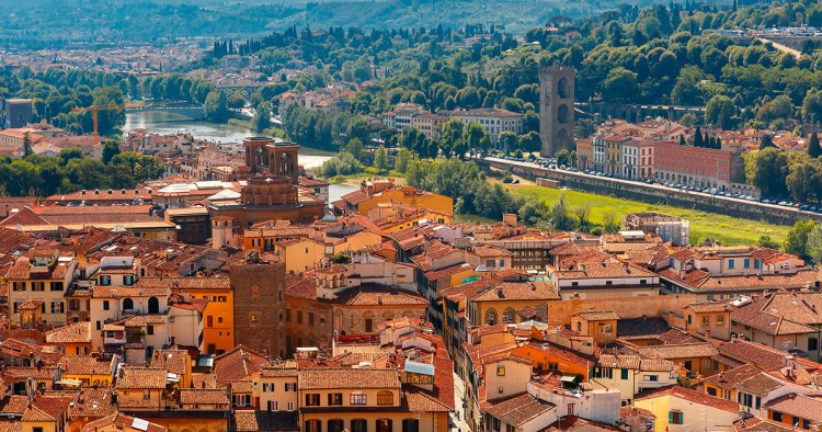 Aerial view of the neighborhoods in Florence