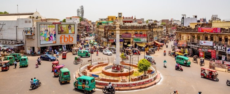 Busy Streets of Chandni Chowk in New Delhi