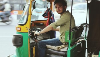 Driver in an auto rickshaw in Delhi