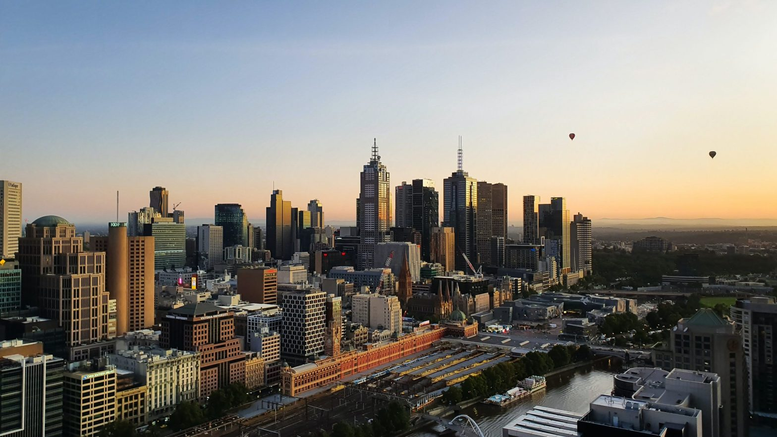 Aerial shot of Melbourne, Australia