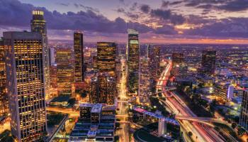 aerial shot of LA at night, find rooms for rent