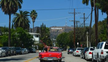 car driving to Hollywood sign, South LA, find rooms for rent