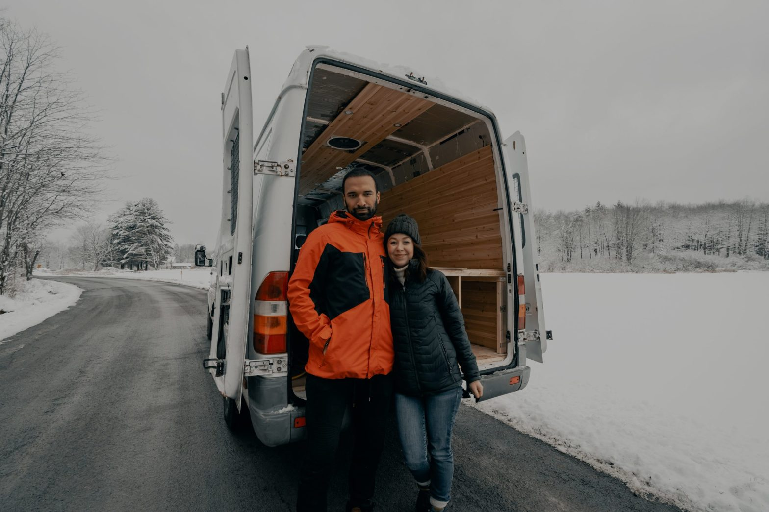 Couple move in together - moving van - winter