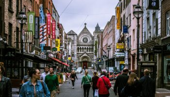 People walking through the market streets in Dublin