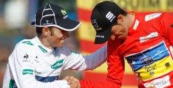 Contador eta Valverde 2012ko podiuma zapaltzen