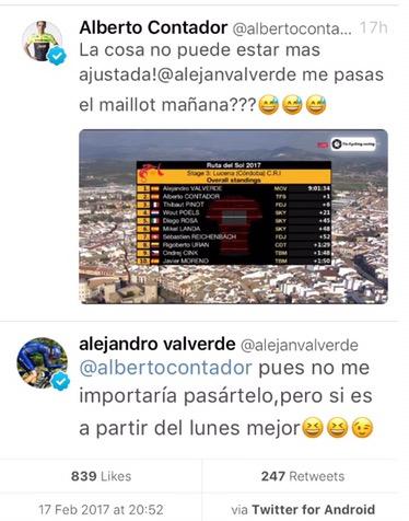 Contador eta Valverde Twitter bidez 'jolasean'