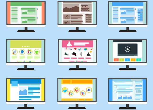 An image with nine computer screens, each with a different theme, to go with our post about searching and choosing a new theme for your site.