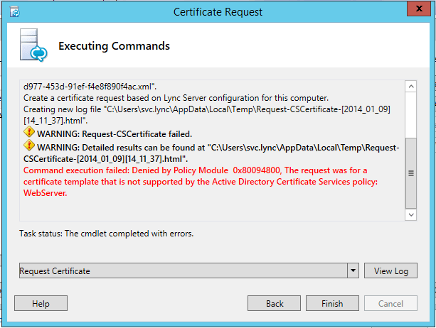 Denied by policy module 0x80094800 the request was for a this issue is caused by the service account that i am using as it is not domain admin and doesnt have full rights to the certificate authority yadclub Gallery