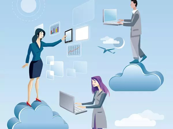 Two women and a man are working in the sky between clouds. they are working on the sky with computers and tablet, connected to Internet and are accessing cloud services.