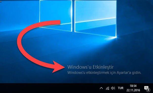 windowsu etkinleştir