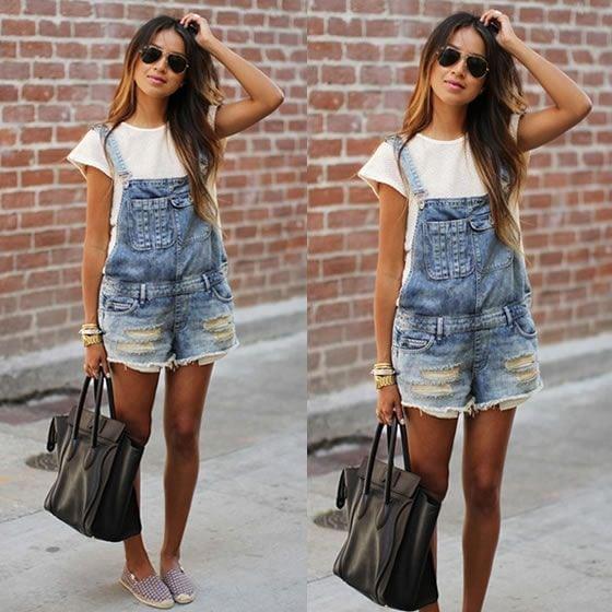 Jardeineira Jeans