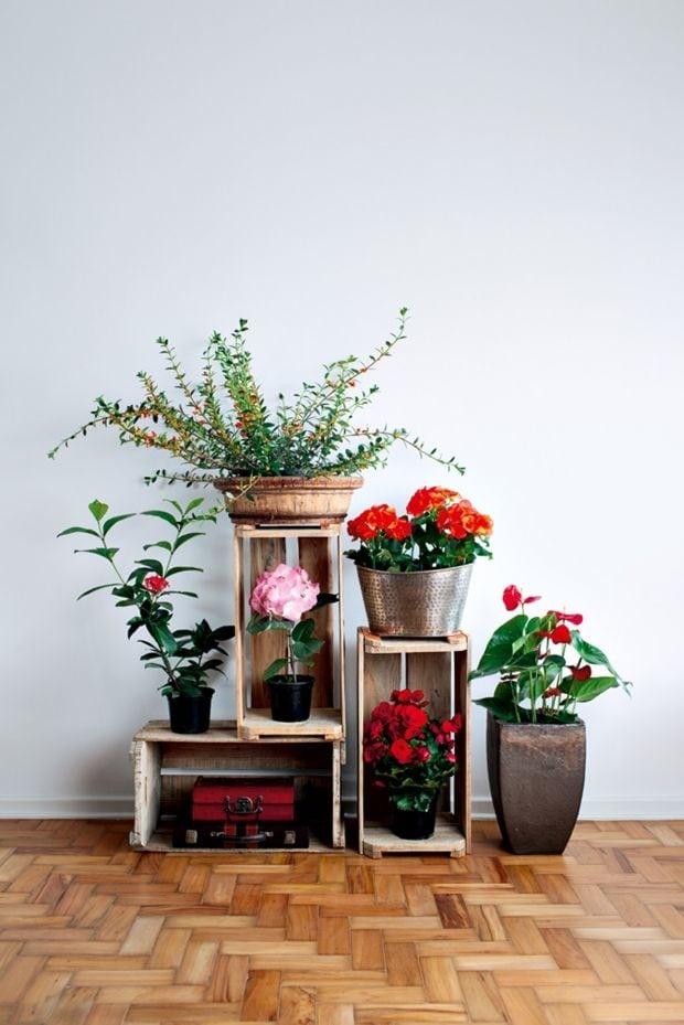 decoracao com flores na area interna da casa