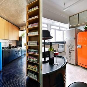 Alegre sua cozinha com uma geladeira colorida