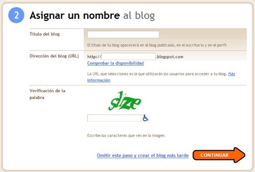 Elige el nombre y la dirección de tu blog