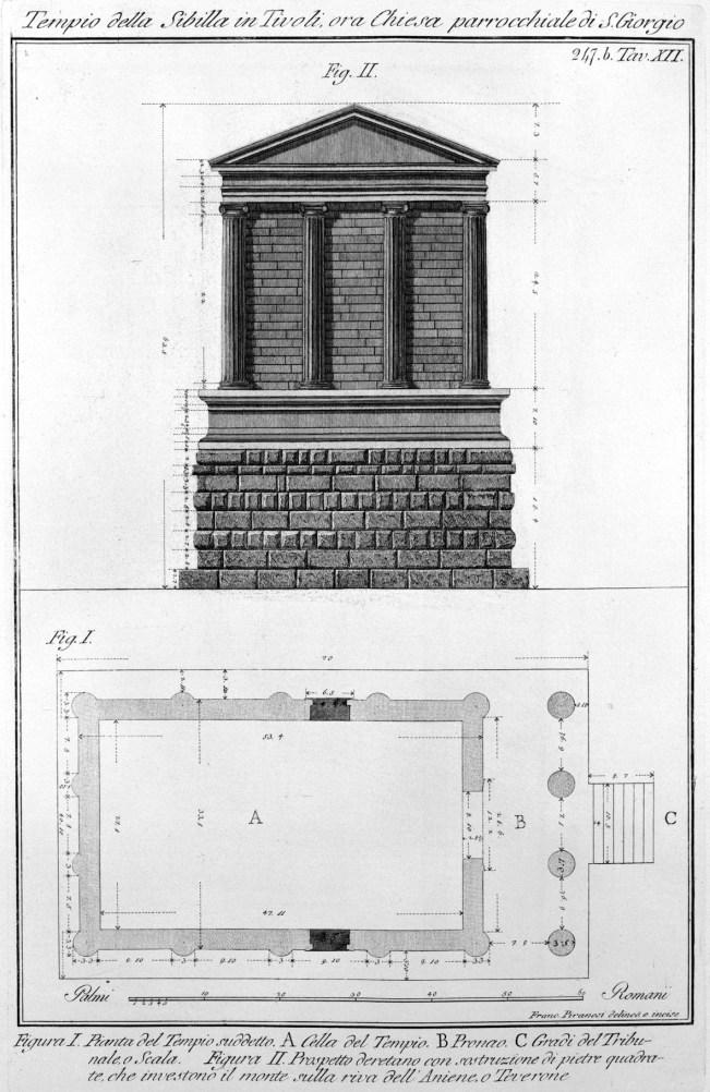 Rekonstruktion des Tempels der Sibylle, Piranesi, ca. 1780
