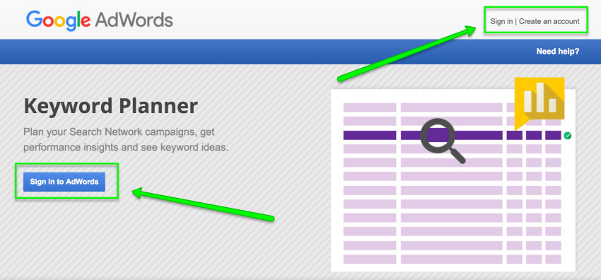 google keyword planner login