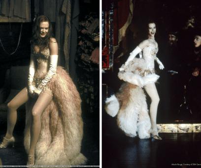 Com plumas esvoaçantes e cores claras, Satine sabia utilizar a roupa em seu benefício. Completado com um corpete e luvas compridas.
