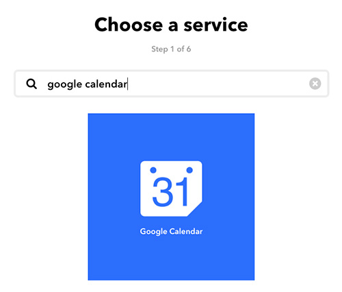 choose a service on IFTTT