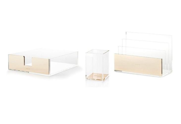 Kate Spade Acrylic & Gold Desk Organizer Set