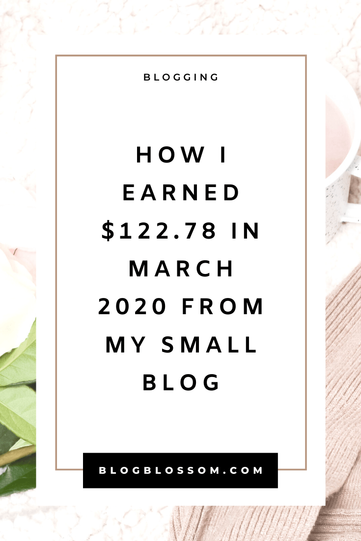 In my March 2020 income report, I'll show you how I earned $122.78 from my small blog. | blogging traffic | skyrocket your traffic | blog income report | blog traffic report | affiliate marketing | earn money online | make money online | money making tips | make money blogging | tailwind | pinterest tips | social media marketing | ad revenue | blogging tools | blogging tips | blog tips | start a blog | work from home | side hustles