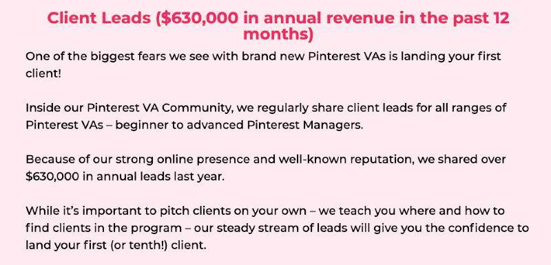 pinterest va bonuses - client leads