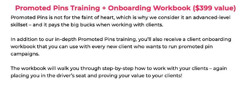 pinterest va bonuses - promoted pins training