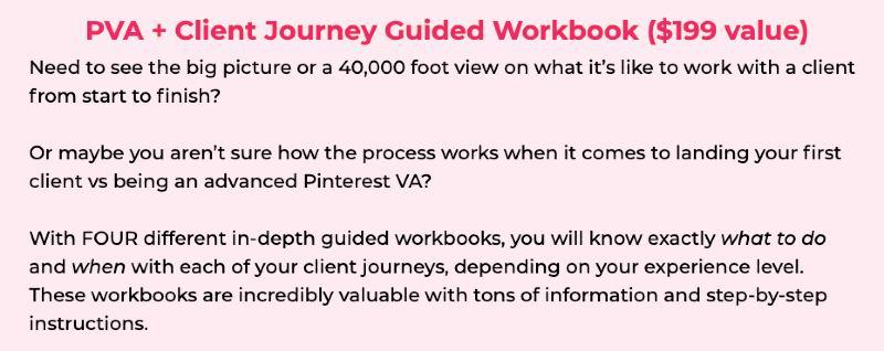pinterest va bonuses - pva + client journal guided workbook