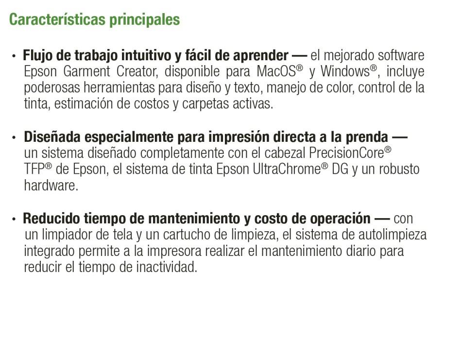Características F2100 Epson