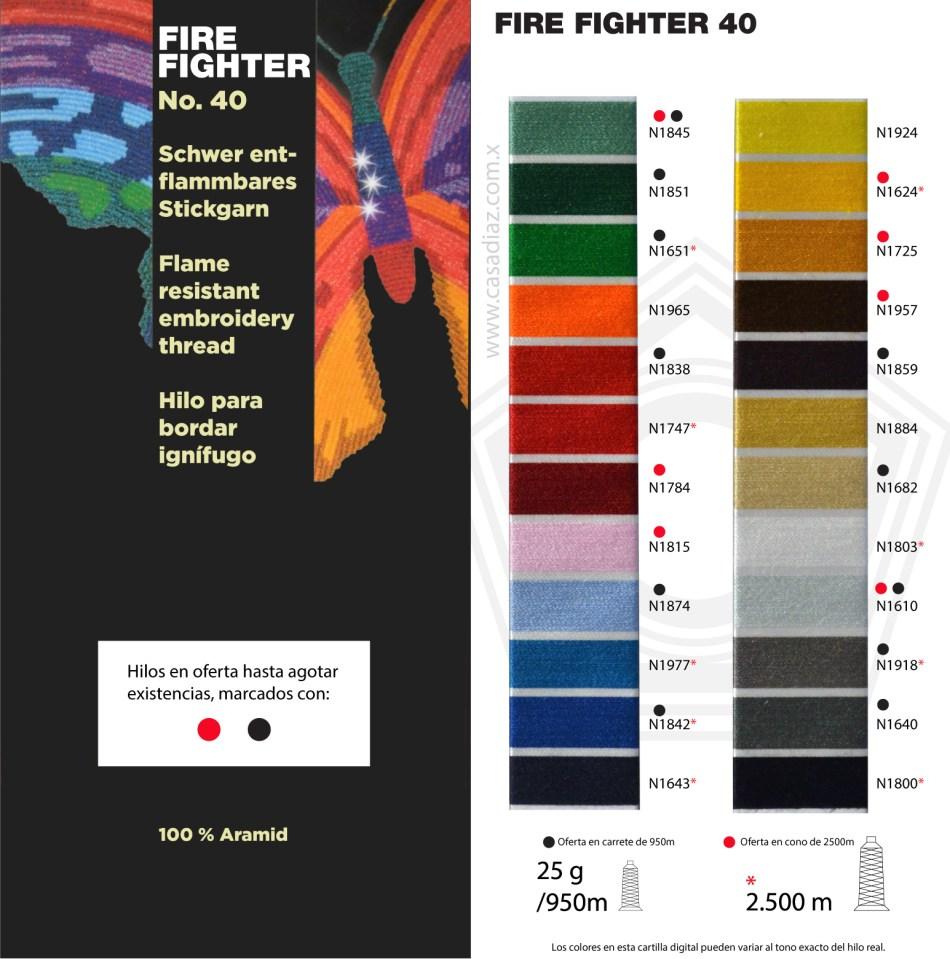Carta de colores hilos fire Fighter