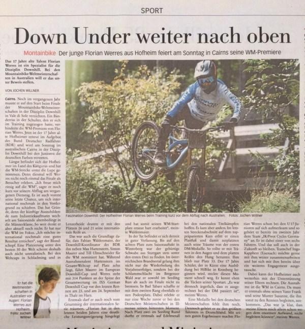 Zeitrungsbeitrag Florian Werres WM