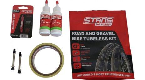 Das Tubeless-Kit von Stans No Tubes enthält: Ventile, Luftdichtes Felgenband und Dichtmilch.
