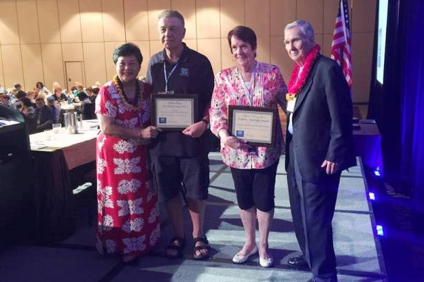 CEA-Retired Vice President Bill Murray and President Gloria Brown (center) were presented with NEA-Retired communications awards by Membership Committee Chair Jean Dobashi and NEA-Retired President Tom Curran.