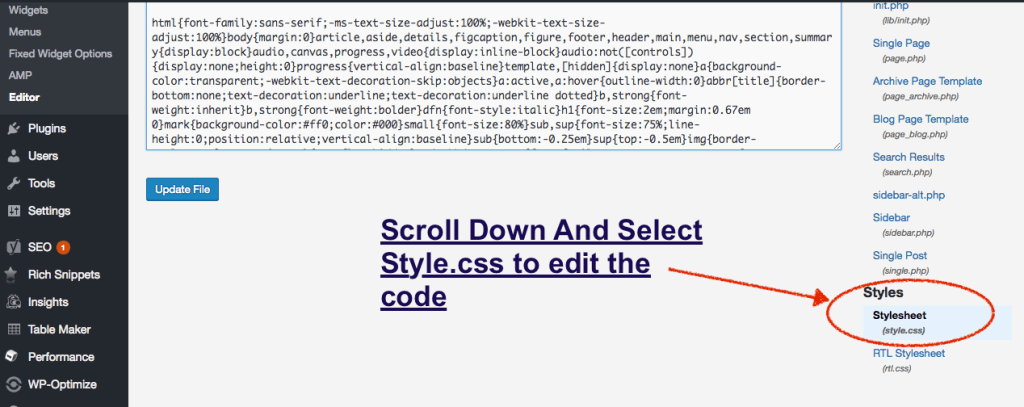 edit style.css in genesis theme