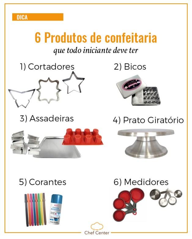 6 produtos de confeitaria