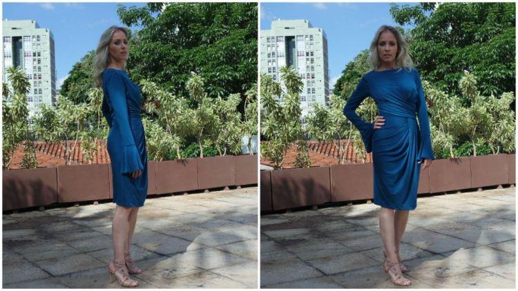 vestido midi azul petróleo drapeado frente alphorria