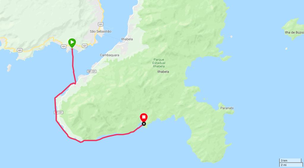 Mapa primeiro trecho Remada de volta da Ilhabela