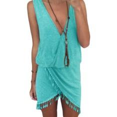 2015-Casual-Summer-Dress-Fringe-Tassel-Dresses-Sexy-Grey-V-Neck-Tulip-Smock-Waist-Front-Wrap