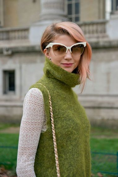 PARIS, FRANCE - OCTOBER 6: Fashion Blogger Samantha Angelo wears a Chanel bag, M and Co sweater, Rugby by Ralph Lauren sweater and Dita sunglasses on day 8 during Paris Fashion Week Spring/Summer 2016/17 on October 6, 2015 in London, England. (Photo by Kirstin Sinclair/Getty Images)*** Local Caption *** Samantha Angelo