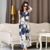 Vintage-floral-dress-female-2015-Summer-Women-New-Cotton-maxi-Dress-casual-Linen-Sleeveless-blue-black