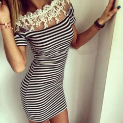 Womens-Sexy-Short-Sleeve-Bodycon-Strip-Lace-Evening-Party-Mini-Dress