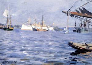 The-Battleship-Baltimore-In-Stockholm-Harbor